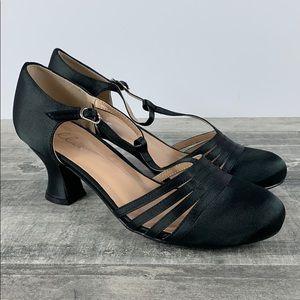Ellie Lucille Strappy Heel Dance Shoe Black Size 8